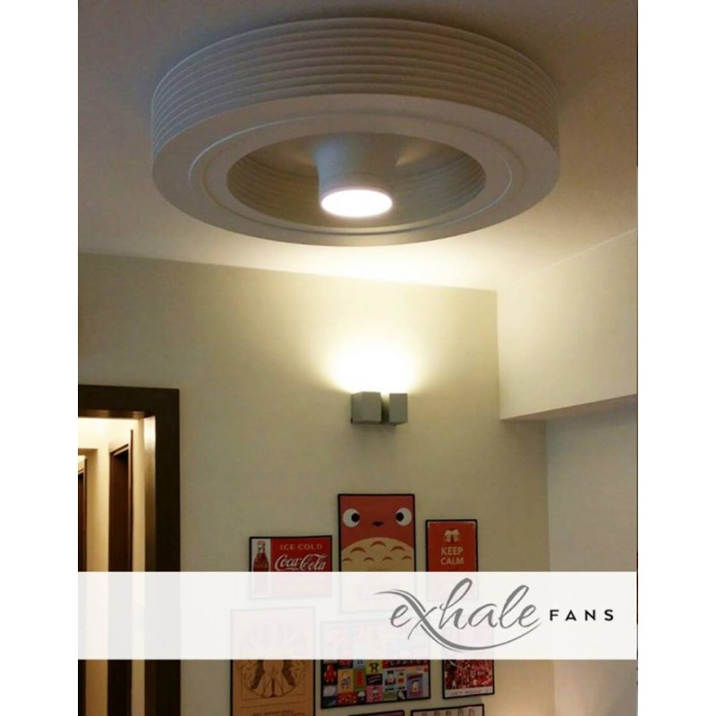 Ceiling Fan Bladeless White With Led Exhale Fans